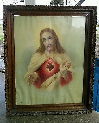 Vtg-1930-40-039-s-Jesus-Sacred-Heart-Litho-Print-Ornate-Wood-Framed-Picture