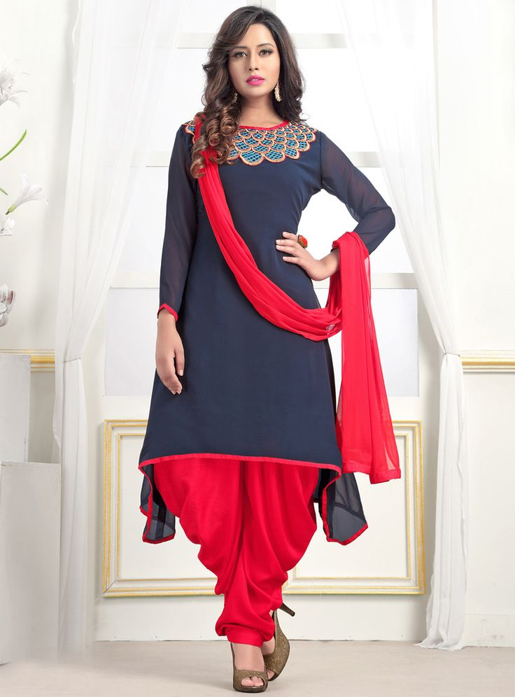 Navy Blue Georgette Readymade Patiala Suit 89332