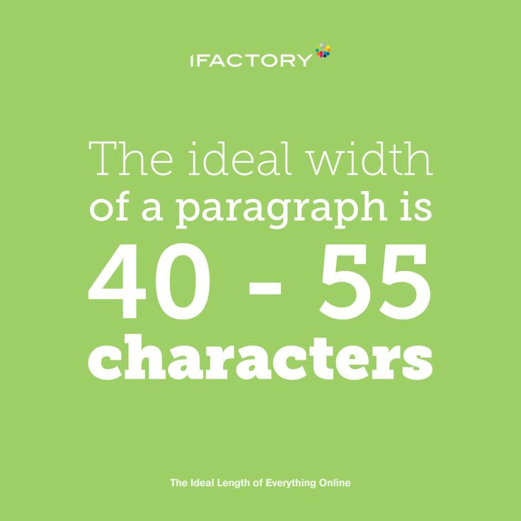 The ideal width of a paragraph is 40-55 characters. #ifactory #ifactorydigital #paragraph #ideallength #copy #content #digitalmarketing #digitalagency #brisbane