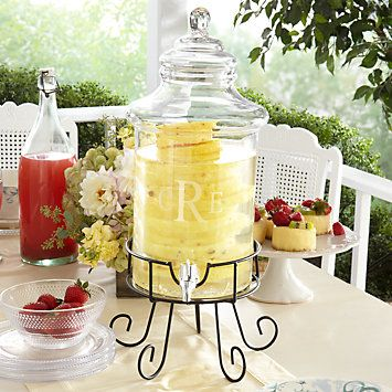 Glass Beverage Dispenser with Stand...Great for buffet!! #Lenox