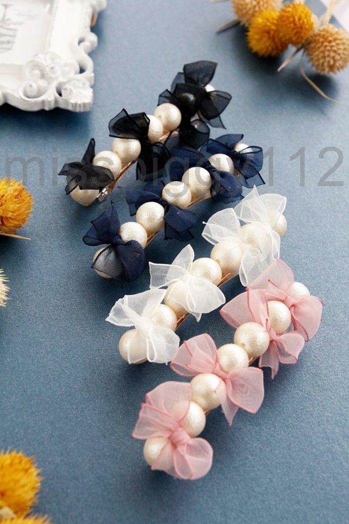 日本9月新品秋季优雅甜美淑女纱质蝴蝶结棉珍珠圆珠发夹