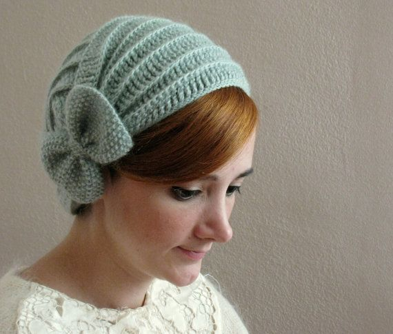 Light Green Crochet Beret with Bow #crochet
