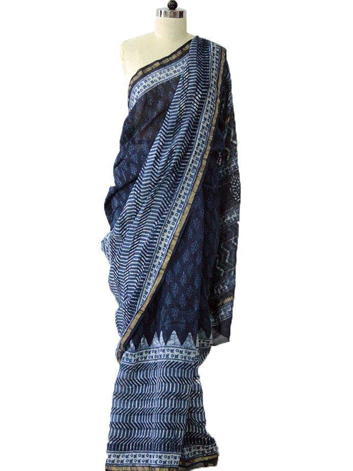 Indigo Triangle Chanderi Saree