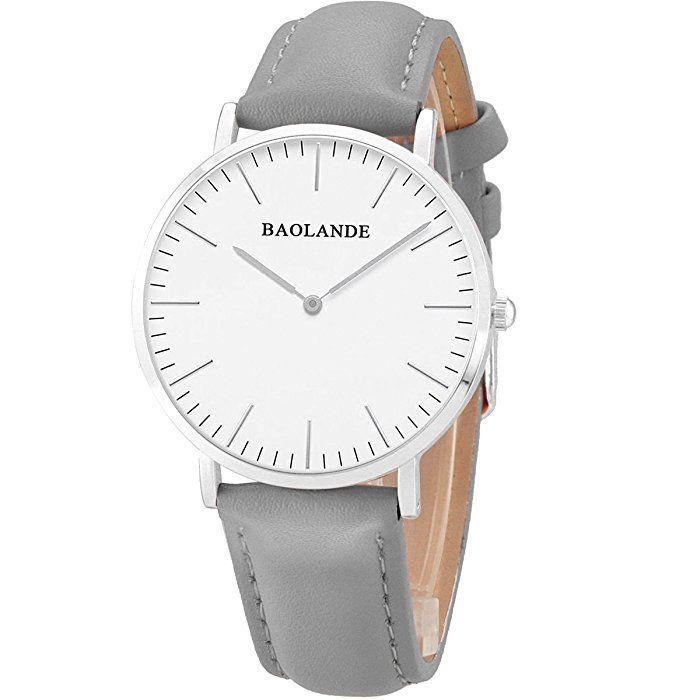 Alienwork Classic St.Mawes Quarz Armbanduhr elegant Quarzuhr Uhr modisch Zeitloses Design klassisch silber grau Leder U04815L-05