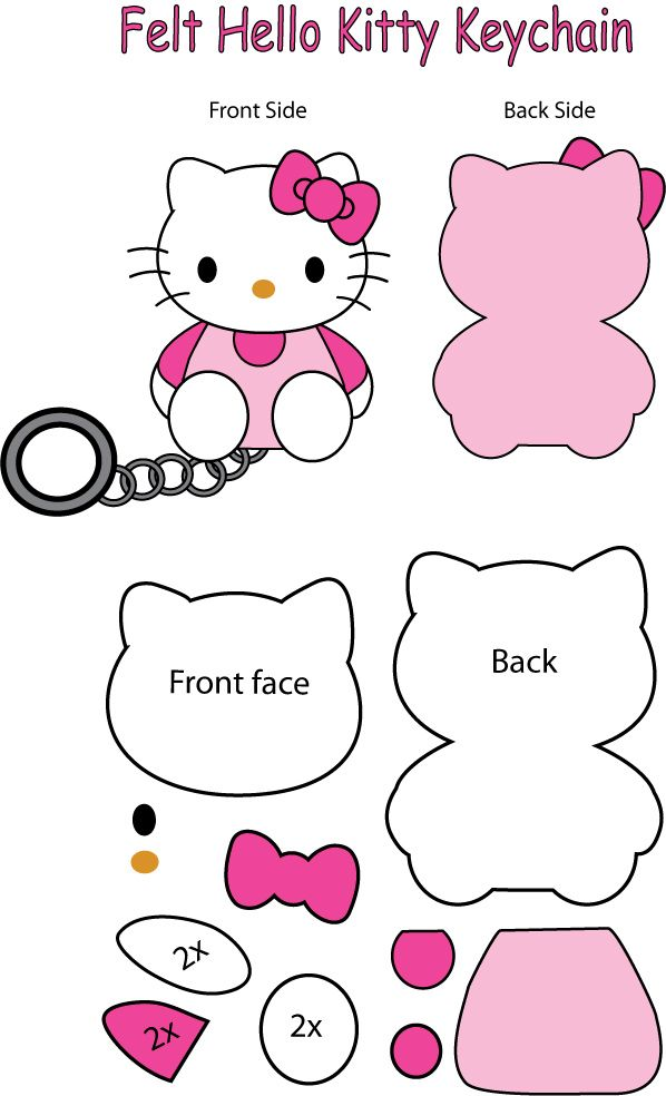 Hello Kitty felt Keychain #hellokitty #cat #kitten #kitty #pattern #keyring #felt #DIY