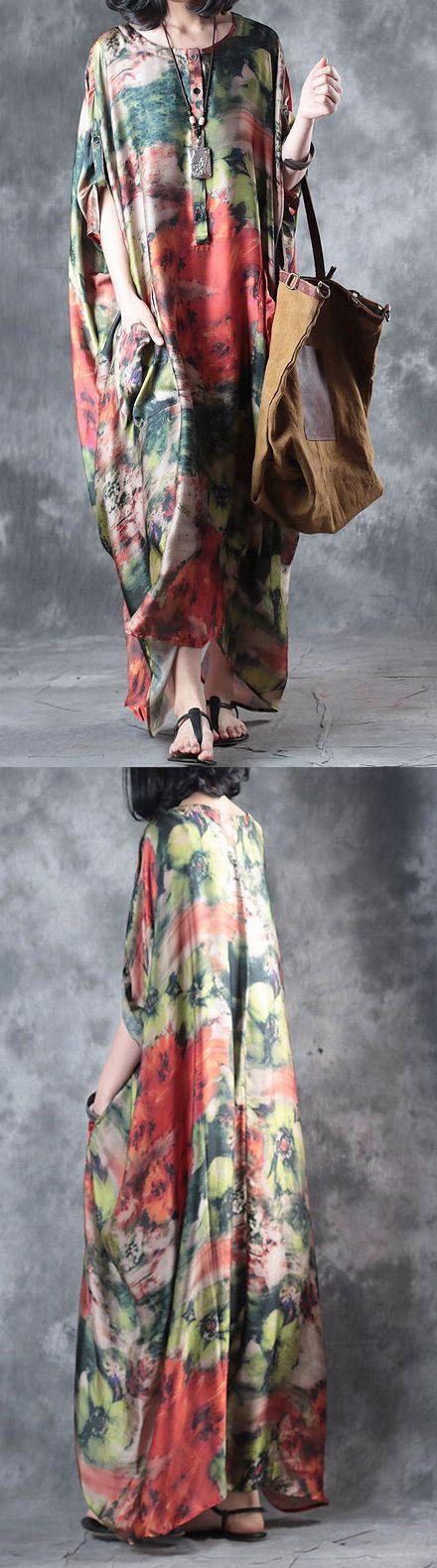 baggy multi vintage silk dresses plus size casual sundress batwing sleeve maxi dress