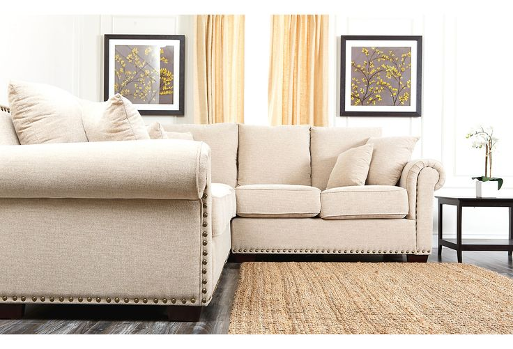 Thomas Linen Sectional, Cream | Downstairs | One Kings Lane