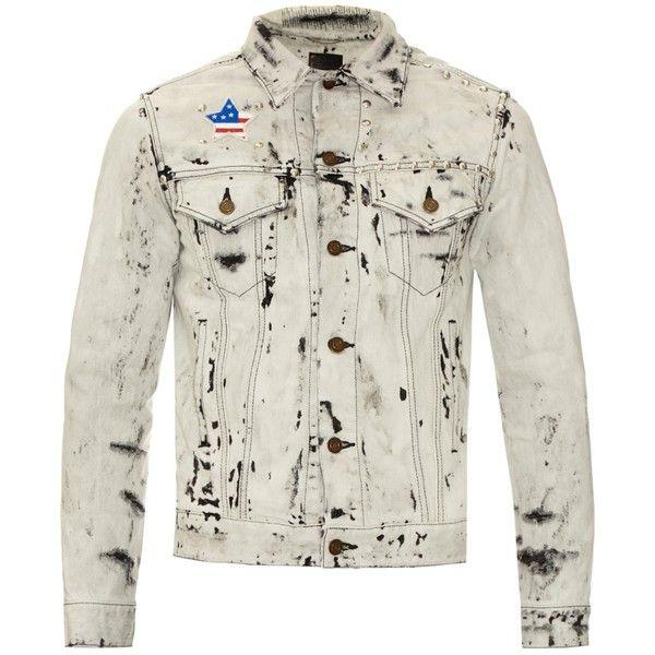Saint Laurent Acid-wash studded denim jacket ($1,038) ❤ liked on Polyvore featuring men's fashion, men's clothing, men's outerwear, men's jackets, white multi, mens distressed leather jacket, mens white jacket, mens slim fit jacket, mens slim jacket and mens acid wash jean jacket