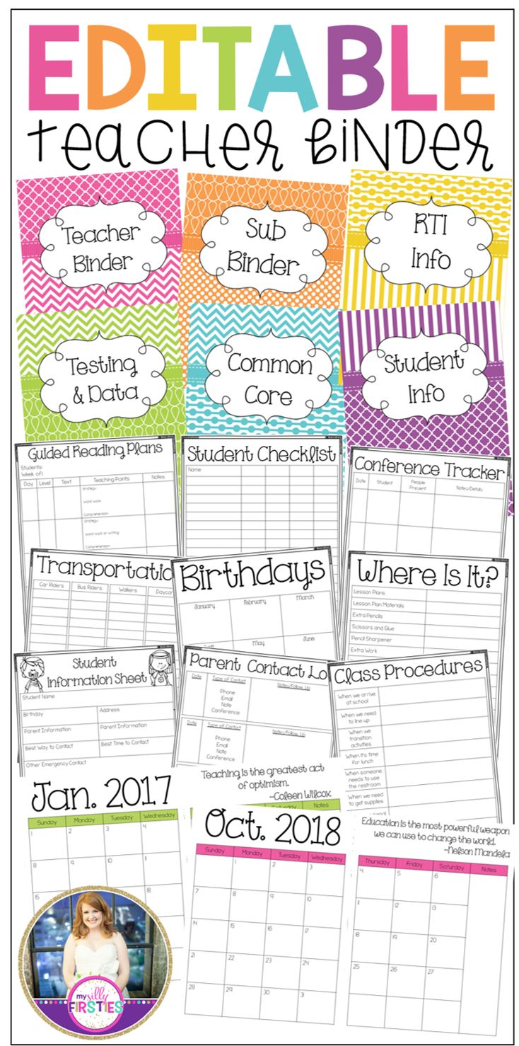 Editable Teacher Binder. Everything you need to plan and stay organized in the new school year. Editable calendars, forms, covers, dividers, spine labels, Common Core Standards, TEKS, and more!