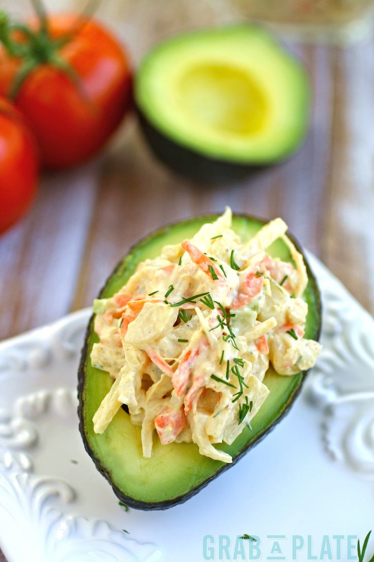 Avocados stuffed with Hearts of Palm Crabless Salad - perfect for a Meatless Monday!
