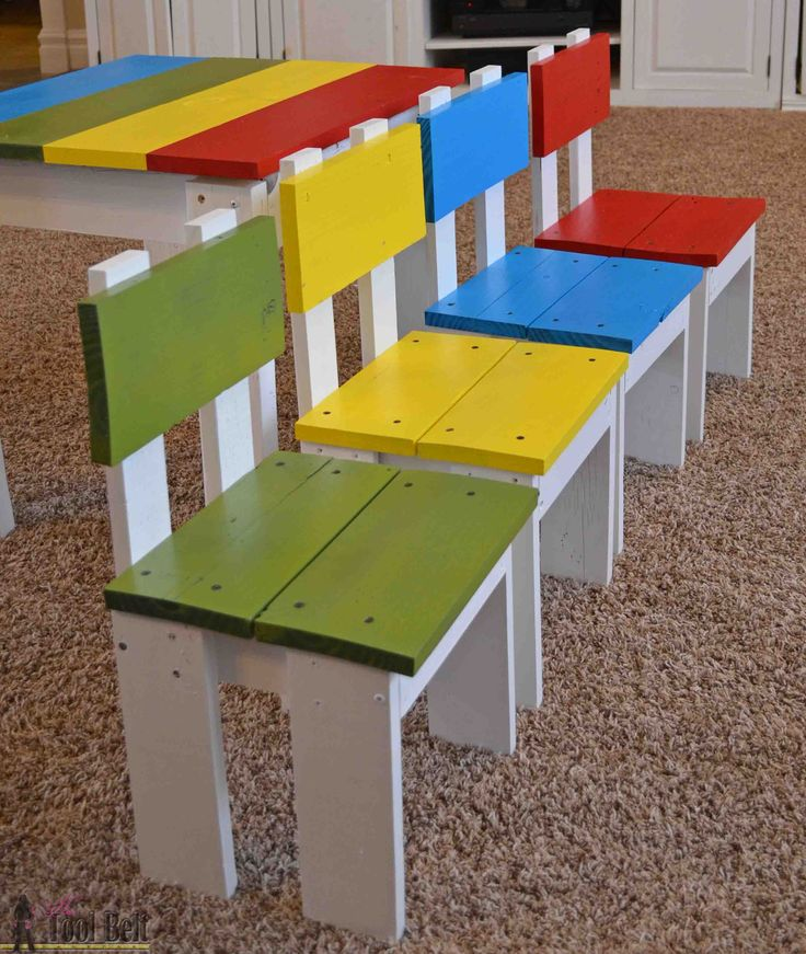 Free plans for super easy scrap wood kid's chairs. Love the fun colors.