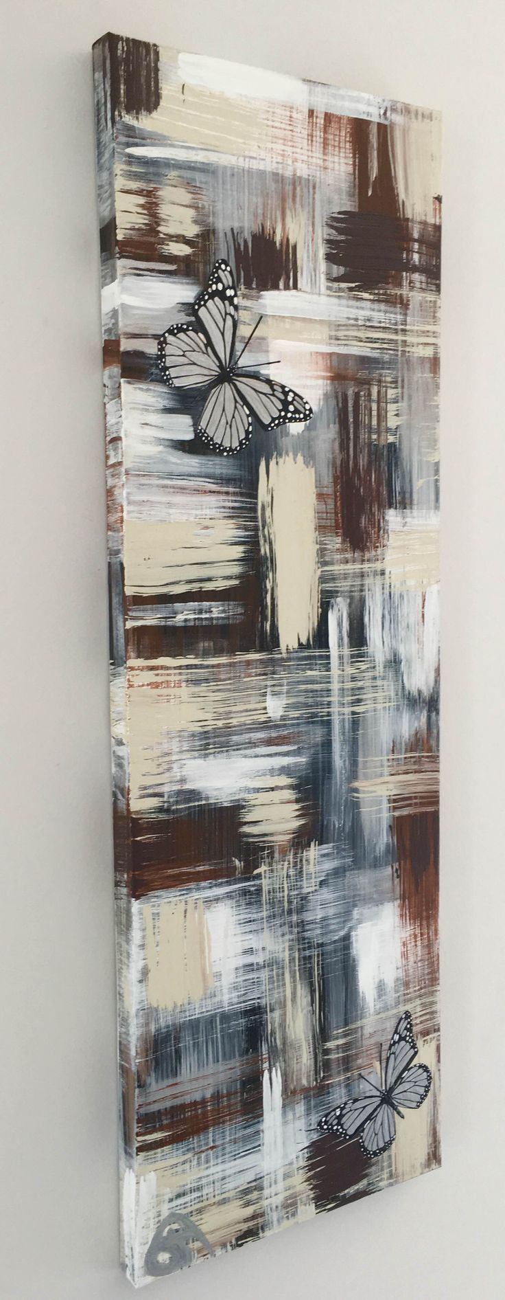 "SOLD""Contemporary Living"" Metallic Sliver Butterflies with Resin Finish ~Like my Facebook Artist Annette Spanski PAGE or check out all my art on INSTAGRAM @asartstylist"