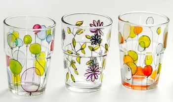 hand painted glassware found at The Etsy Blog