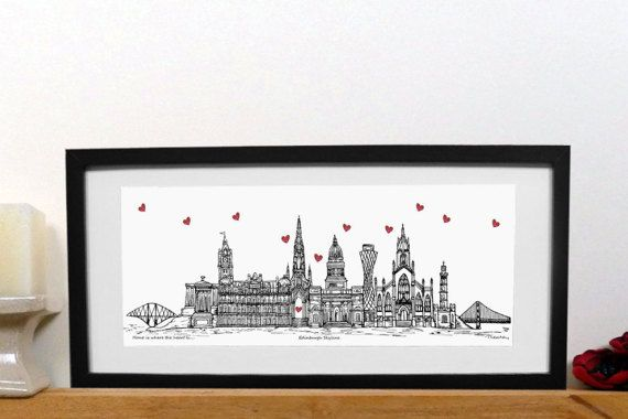 Edinburgh skyline - Home is where the heart is - new home gift  by TinaLeaheyDesignsUk