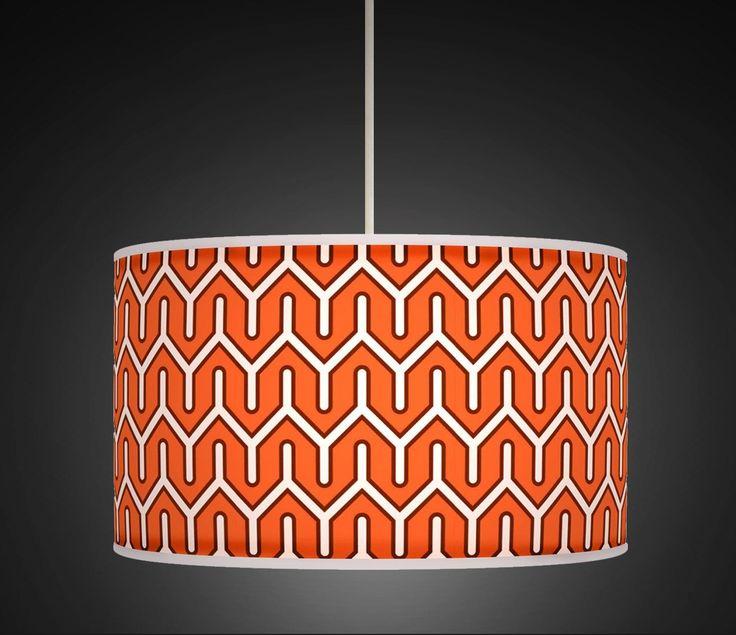 "20cm (8"") Burnt Orange White Retro Geometric Handmade Printed Fabric Lamp Drum Lampshade Floor or Ceiling Pendant Light Shade 535: Amazon.co.uk: Lighting"