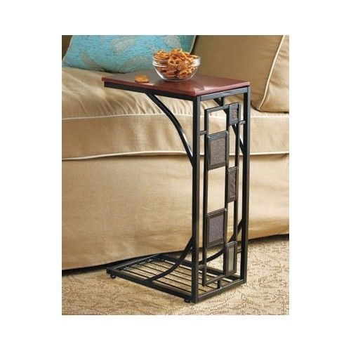 Slate Trimmed Sofa Side Table, Great For A Lap Top Or Tv Tray For Snacking