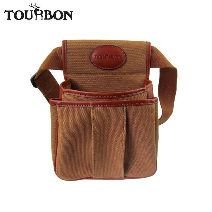 Tourbon Hunting Tactical Gun Cartridges Bag Shooting Ammo Shells Case Durable Canvas Leather Pouch with Two Pocket Maxium 56''