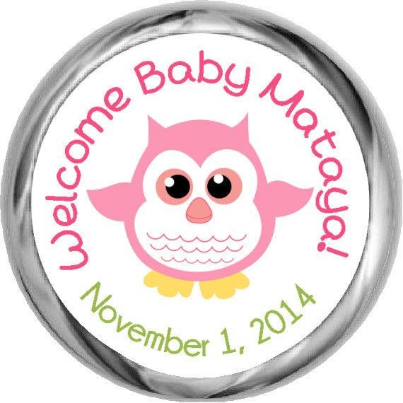 Baby Girl Owl Stickers   KISSES Candy Baby Shower (#HKS13)