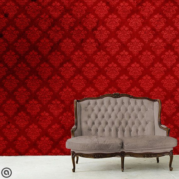 This wall is dressed in our vintage grunge Stiletto pattern, printed on the highest quality peel & stick fabric WallSkins. WallSkins can be