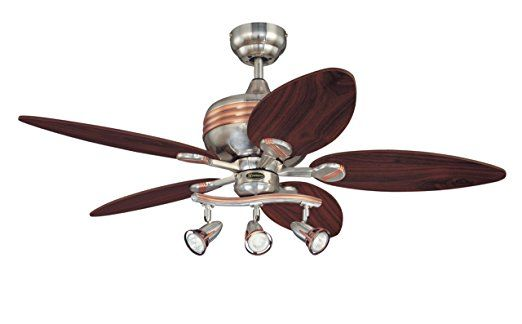 Westinghouse 7226520 Xavier 44-Inch Five-Blade Indoor Ceiling Fan with Three Spotlights, Brushed Nickel     Ceiling Fan Remote Control  Exterior Ceiling Fans  Fan Light  3 Blade Ceiling Fan  Modern Ceiling Fans With Lights  Indoor Ceiling Fans  Ceiling Fan Switch  Led Ceiling Fan  Tropical Ceiling Fans  Ceiling Fan Light Covers