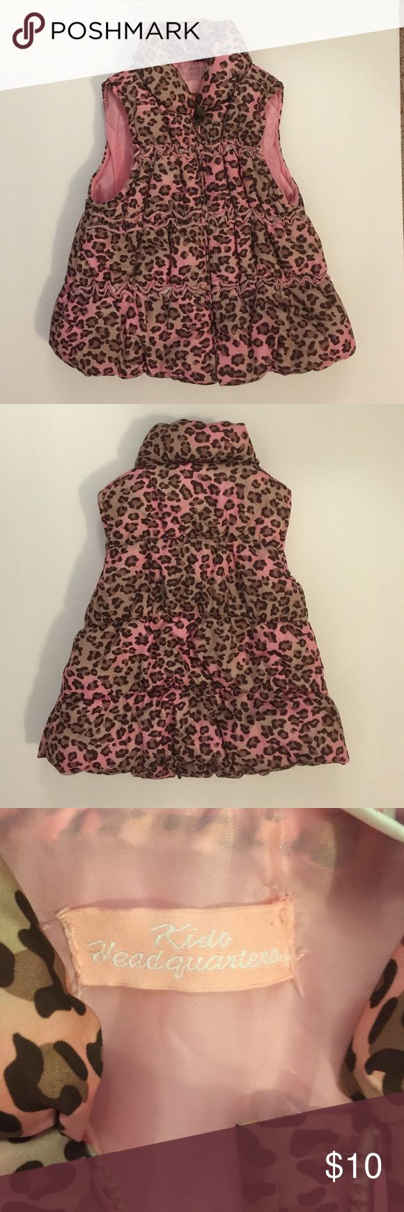 Kids Headquarters Vest Pink , tan and brown animal print zip up vest . Soooo adorable 🌺🌺 18 months size Kids Headquarters Jackets & Coats Vests