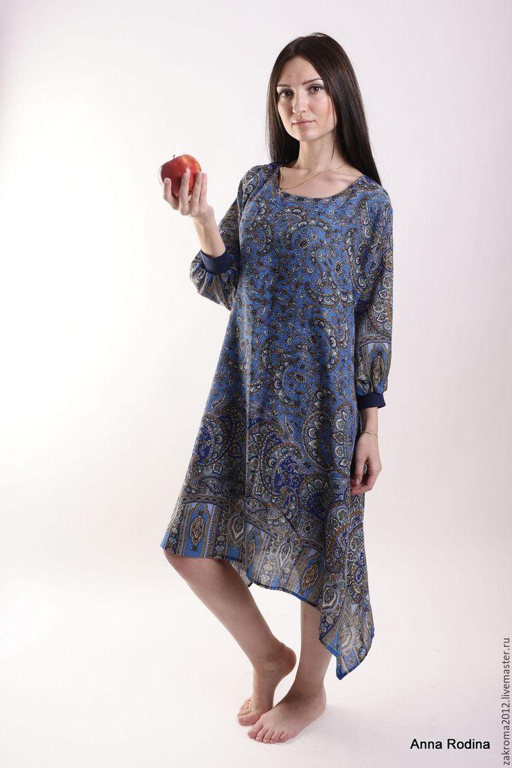 """Купить Платье """"Садко"""" синее - платье, нарядное платье, платье из платка, павловопосадский платок, царевна"""