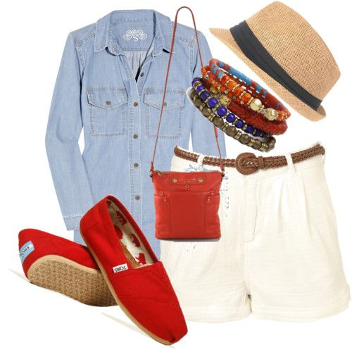 roll the sleeves and different bracelets and a new bag haa but love the pop of color with the red toms!