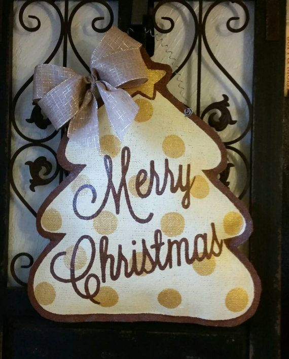 Holiday door hanger. Merry Christmas hand by ConnieRisleyCrafts