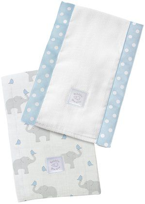 Swaddle Designs Baby Burpies - Pastel Blue Elephants and Chickies - 2 Pk