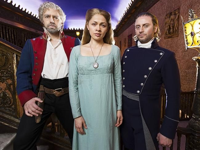 Hayden Tee (right) with fellow cast members Simon Gleeson (Jean Valjean) and Patrice Tipo
