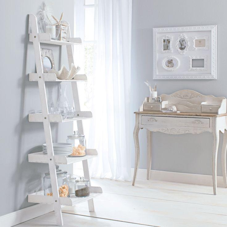 Leiterregal - Tannenholz - Weiß
