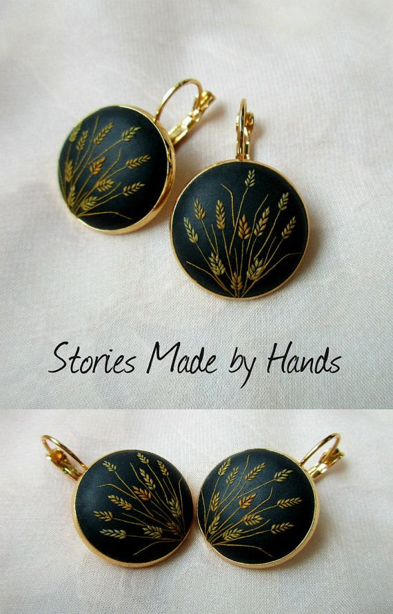 Sunny Gold Field of Wheat Gold Black Earrings Mother of the bride gift Mother of the groom gift Gifts for mom Birthday gift Bridesmaid gift