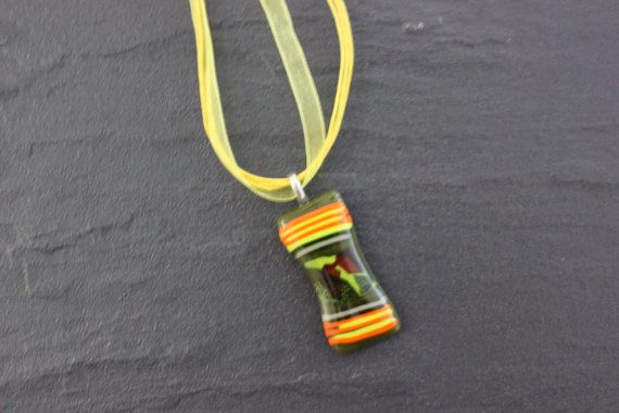 Brightly Striped Glass Fused Pendant Green by GlassJewelleryByJ