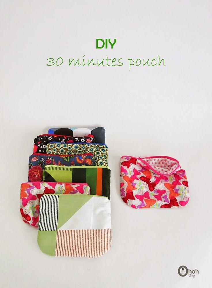 Make a pouch in 30 minutes #sewing #tutorial - Faire une pochette doublée (anglais - français)