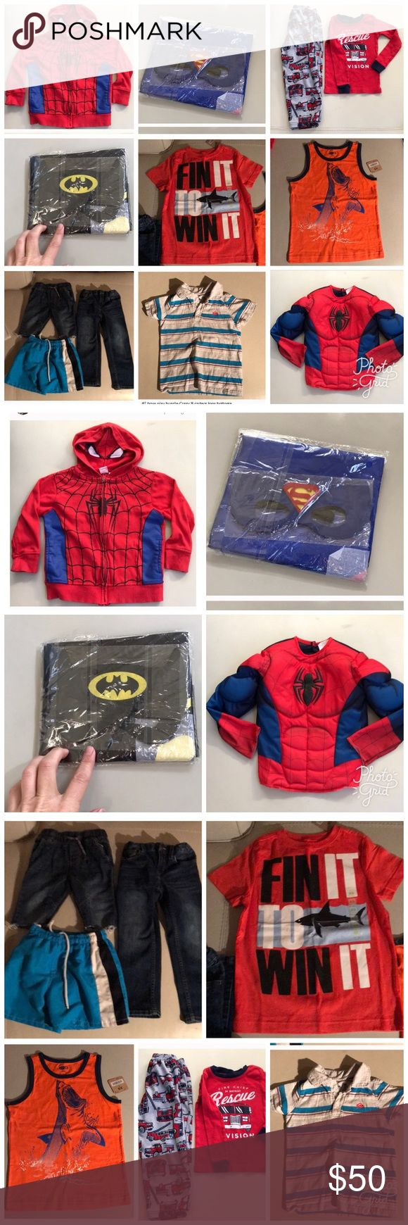 4T boy Bundle kids Lot shirt pants top EUC Bundle of multiple excellent condition EUC boy toddler child kid size 4T Includes : Batman cape and mask (new) Captain America silky cape and felt mask (new) Spider-Man muscle costume shirt great condition Spider-Man sweatshirt hoodie with masked hood great condition  Carters Truck pj set EUC Quick silver stripes polo tshirt GUC OshKosh Jean cut off shorts GUC Tucker & Tate 4t Jeans EUC Swim shorts blue stripes GUC Crazy 8 shark tank top NWT  Crazy…