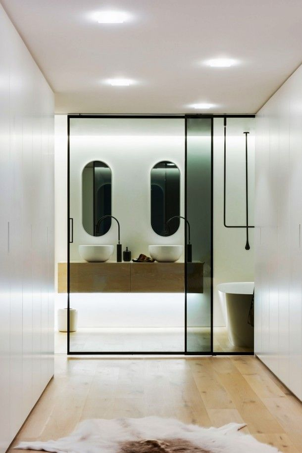 Bathroom - Luxurious View Of Clean Simple Lines Bathroom With Wooden Vanity And White Sinks Under Clear Mirrors: An Award Winning Simple and Minimalist Bathroom Design Ideas