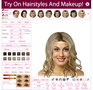 Virtual makeover - upload your photo and view yourself with over 5,000 hairstyles, 50 hair colors, 35 highlights and makeup!