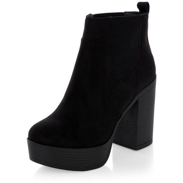 Black Suedette Chunky Block Heel Chelsea Boots ($43) ❤ liked on Polyvore featuring shoes, boots, ankle booties, heels, chelsea bootie, black chelsea boots, chunky-heel boots, black boots and black booties
