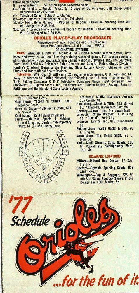 1977 BALTIMORE ORIOLES BASEBALL POCKET SCHEDULE #Pocket