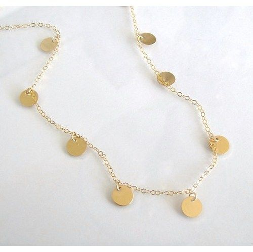 """To see this fab little gold disc coin drop necklace that was purchased from MY shop being worn, go to this youtube Luxy video, (Mimi Ikonn) link below. You will love it! Mimi wears the 16"""" length. Cho"""