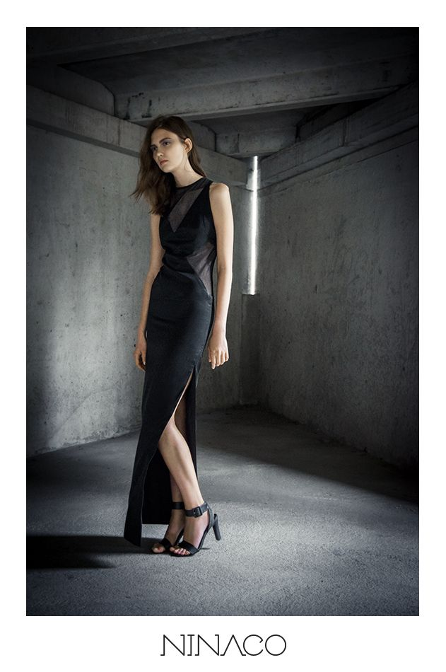 Long evening gown with triangles cut in black Ninaco Couture Id campaign Photographer Mikko Rasila Muah Miika Kemppainen Style Nina Hirvonen Model Maria V from Paparazzi Model Management www.ninaco.co #black #eveninggown #longdress #triangle #cut #openback #ninaco #couture