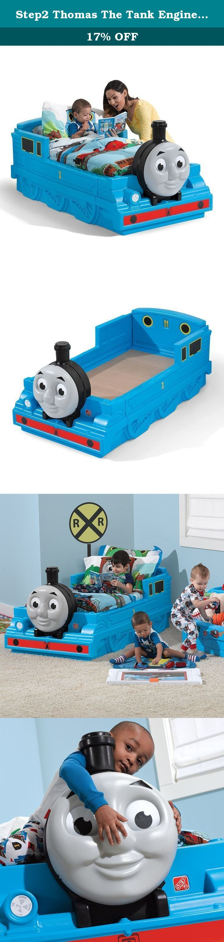 Step2 Thomas The Tank Engine Toddler Bed. All aboard to dreamland in the Thomas the Tank Engine Toddler Bed by Step2. Little train conductors will love that this bed resembles their favorite tank engine. This train bed promotes imaginative play as kids pretend to go on an adventure with Thomas along the island of Sodor. The Thomas the Tank Engine Toddler Bed is the cutest train bed you've ever seen! Made in USA with imported parts.