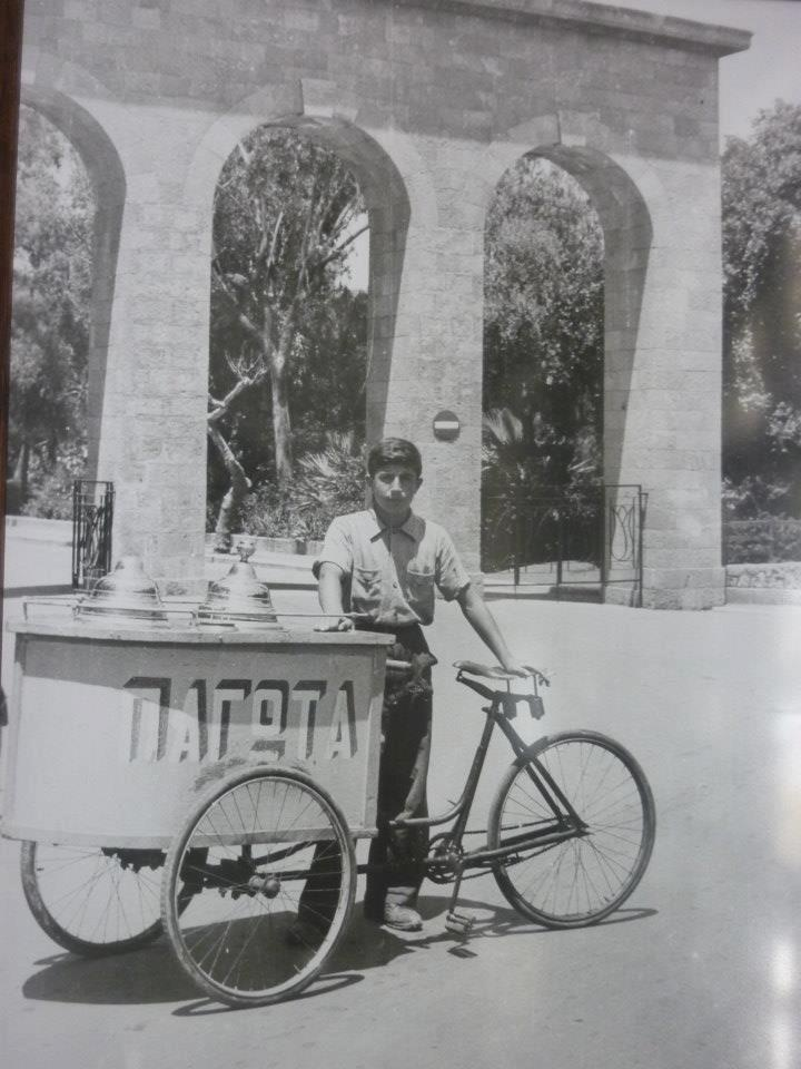 Ice-cream anyone? A traditional ice-cream trolley outside the Medieval town of Rhodes island. How many flavors where on offer back then?