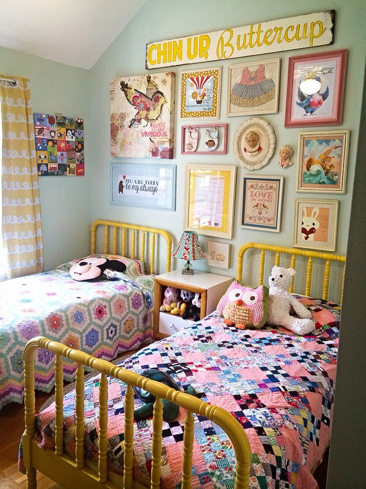 Sweet little girls' bedroom. -- move shelves to side wall to make this gallery happen behind their headborads?
