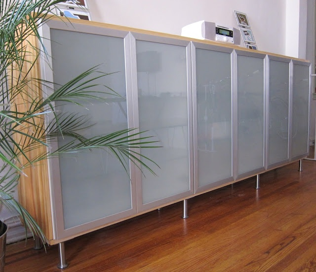 IKEA - Materials: 3 Akurum kitchen cabinets with Avsikt frosted doors, 8 capita legs and, yellowpine and moulding cut to length