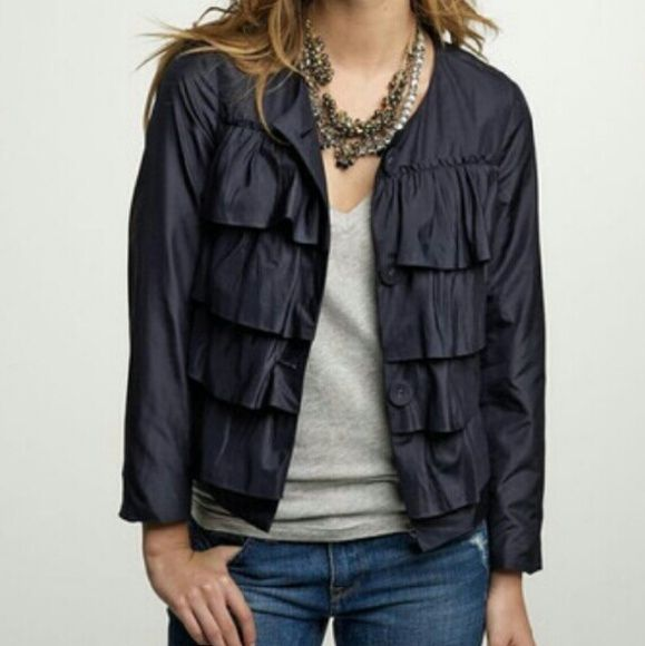 J. Crew jacket- Navy blue- J Crew navy silk jacket -4 Tiers of ruffled luscious silk taffeta dress up this classic jacket. With rows of asymmetrical ruffles at the lower ack that gives the jacket a gorgeous shape. Button front closure. Fully lined. Falls at the hip. True to size. J. Crew Jackets & Coats