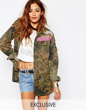 Milk It Vintage Festival Military Jacket in Camo with Embelisment