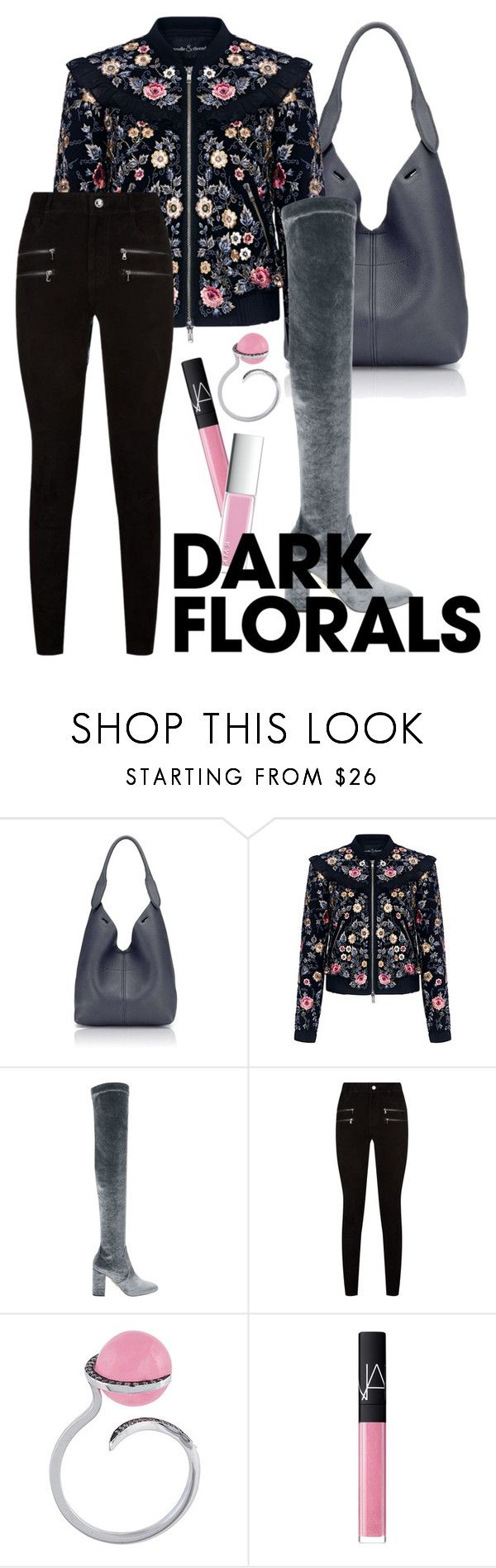 """""""winter flowers"""" by accidentaly-tragic ❤ liked on Polyvore featuring Anya Hindmarch, Needle & Thread, Aquazzura, Paige Denim, Christina Debs, NARS Cosmetics and RMK"""