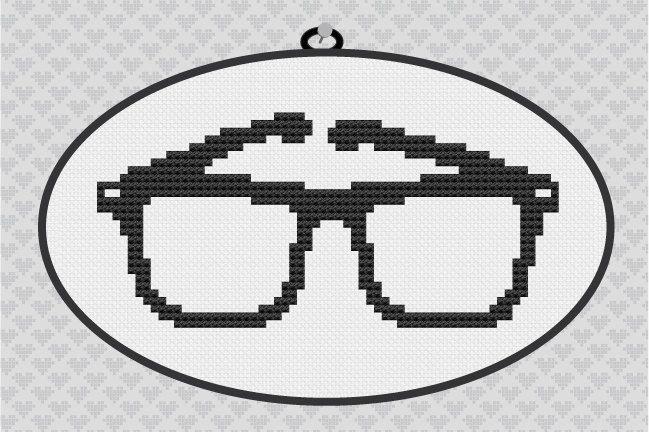 Nerd Glasses Silhouette Cross Stitch PDF Pattern. $3.50, via Etsy.