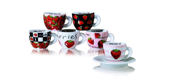 Tazzie da #caffè in #porcellana. Edizioni Espresso- Fragole  www.ancap.it